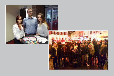 oben: Constanze Möller, Markus Schedding und Jana Posse (v.l.n.r.) auf der JA-Versammlungen in Solingen; rechts: gemeinsamer Besuch des Weihnachtsmarktes nach der JA-Versammlung in Dorsten; © komba jugend nrw